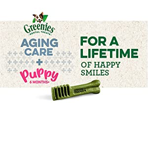 Greenies Aging Care and Puppy, For a Lifetime of Happy Smiles, Greenies Dog Treats, Dental Care