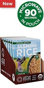 Lotus Foods Organic Brown Jasmine Rice Heat amp; Eat Pouch