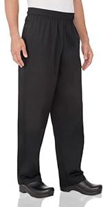 Chef Works Men's Essential Baggy Chef Pants, Black
