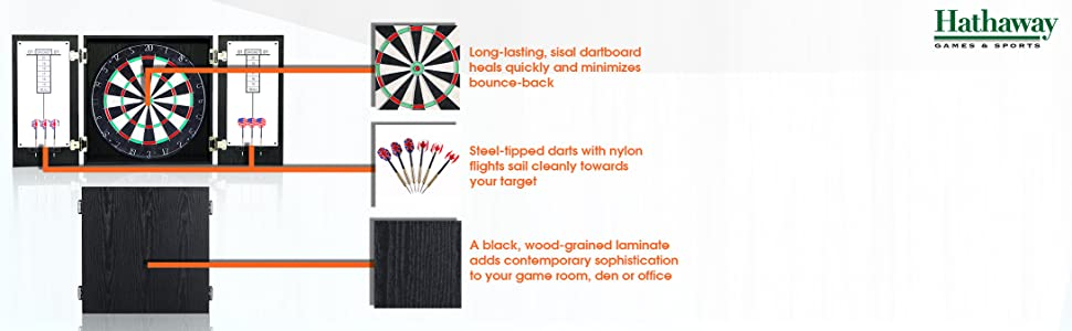 Winchester steel-tipped sisal dartboard cabinet with black wood-grained laminate