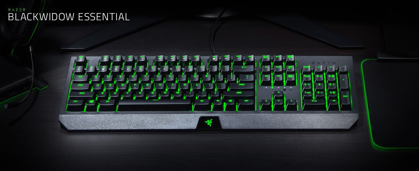 Razer BLACKWIDOW Essential Mechanical Gaming Keyboard: Green Mechanical  Switches - Tactile & Clicky - Individual Key Green LED backlighting - 10  Key