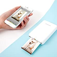 white smartphone with white zip printer