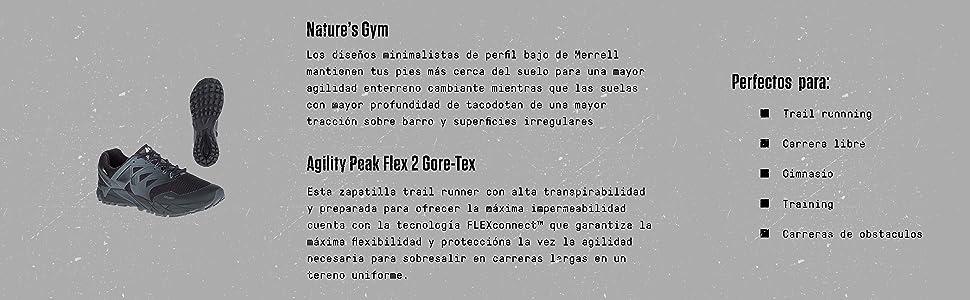Merrell Agility Peak Flex 2 GTX, Zapatillas de Running para Asfalto para Mujer, Negro (Black), 40.5 EU: Amazon.es: Zapatos y complementos