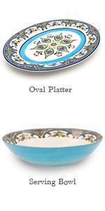 serving bowl and oval platter set