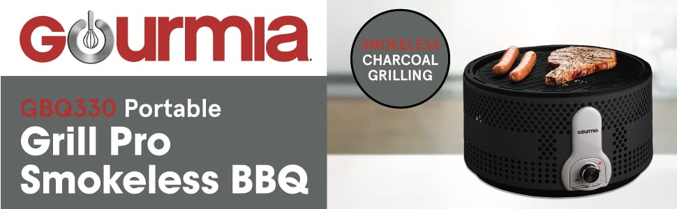 Product image and features of the Portable Grill Pro Smokeless BBQ from Gourmia.
