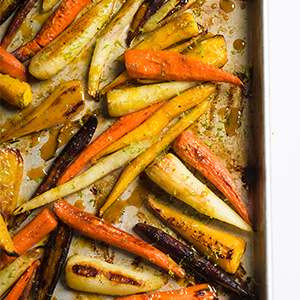 carrots vegetarian side dish recipe turmeric roasted honey lime zest fall cooking simple dinner
