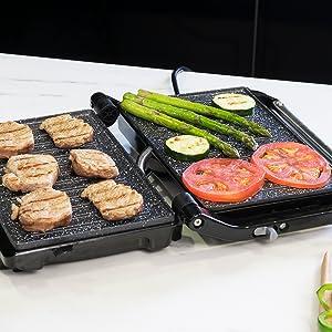 gratar electric;  grilaj electric din ceramică;  placă de grătar;  gratar panini;  grătar cecotec