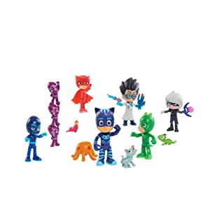 PJ Masks hero and villain figures, luna girl, romeo, night ninja, ninjalinos