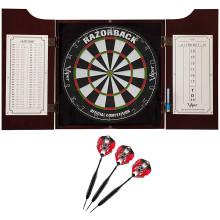 premium set open dart cabinet scoreboard and 3 darts