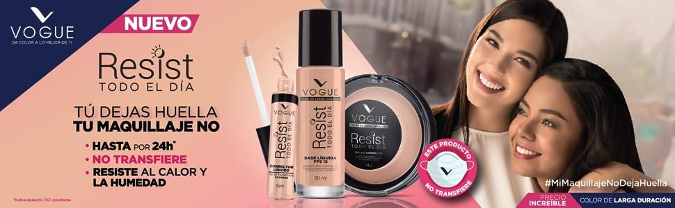 Vogue Resist , base de maquillaje, larga duracion,