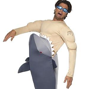 Menschenfressender Hai Herrenkostüm mit Hai Bodysuit und Schwimmbrille