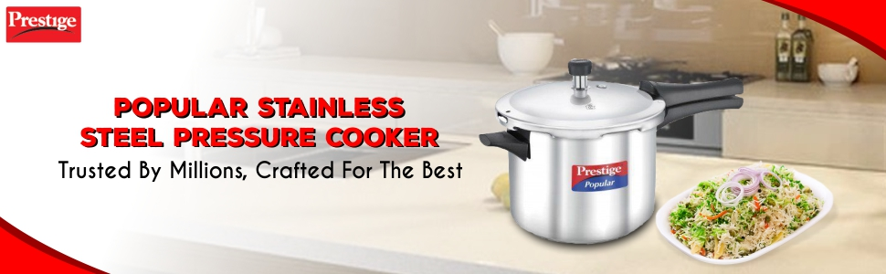 PRESTIGE Stainless Steel Pressure Cooker, 5 Litres