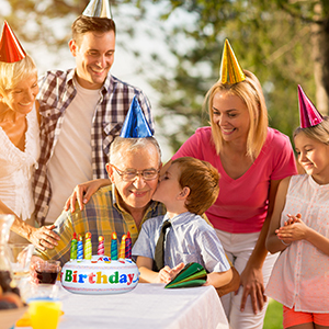 Relaxdays Tarta Hinchable Happy Birthday, Multicolor, PVC, 20 x 26 cm, (10023885)
