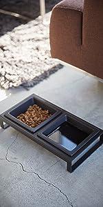 山崎実業 ペットフードボウルスタンドセット タワー ブラック 約W29XD15.5XH6cm ペット用品 エサ入れ 4207