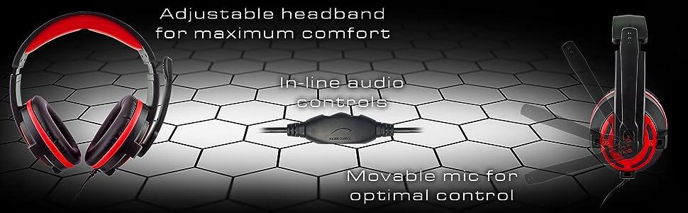 gaming headset, gamer headset, cheap headset, mute, red, comfortable headset, nyko headset, esports
