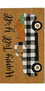 Elrene home fashions farmhouse living farm truck spring doormat rug coir mat