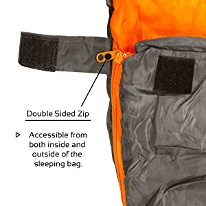 Double Sided Zip for Easy Access from Inside and Outside of the Sleeping bag