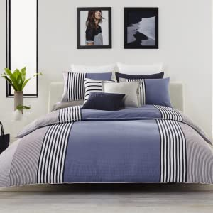 lacoste meribel comforter duvet cotton cover soft stripe line gray white bedroom bed guestroom
