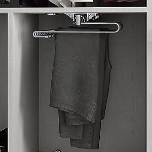 Emuca 7085913 montaje a mano derecha Perchero colgador extra/íble de armario para pantalones acabado pintado moka