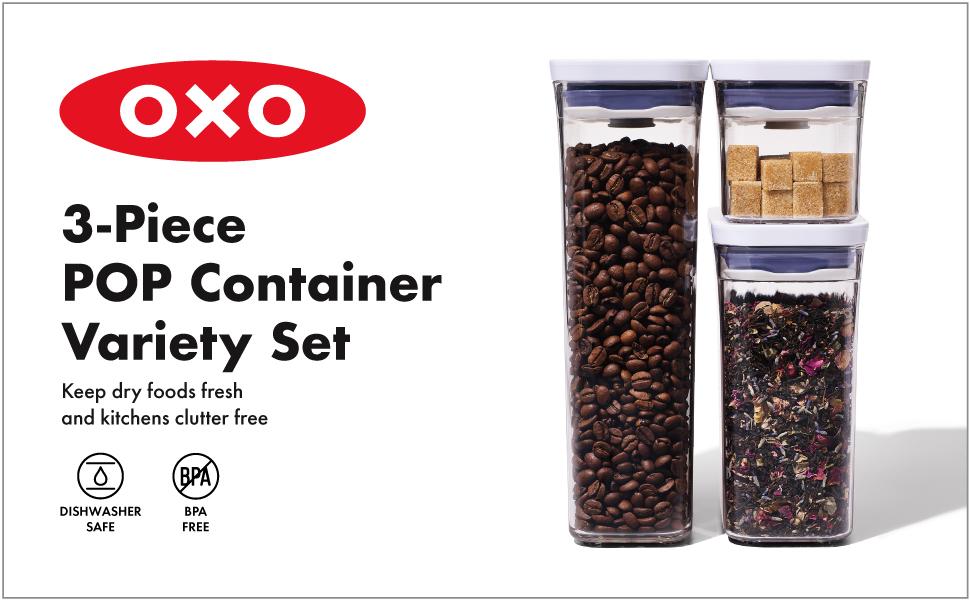 OXO 11146700UK 3-teiliges K/üchenzubeh/ör-Set Sch/äler edelstahl Dosen/öffner und Eisportionierer