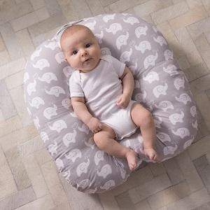 boppy pillow, newborn lounger, infant, newborn, hands free, cuddle, nest for baby, elephant love