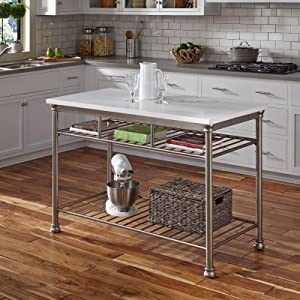The Orleans Kitchen Island With White Quartz Top