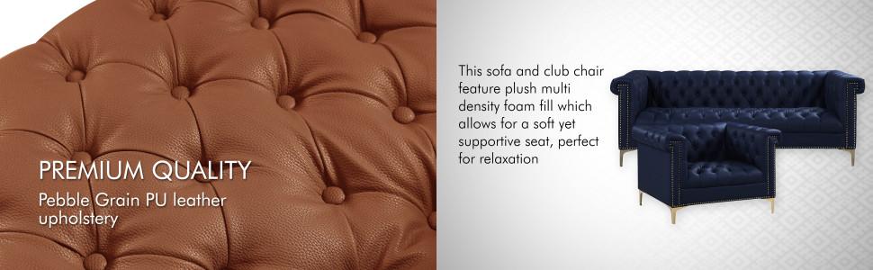 premium quality pebble grain pu leather upholstery sofa club chair