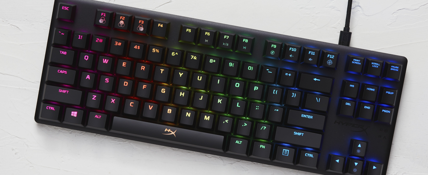 RGB backlit keys with radiant lighting effects