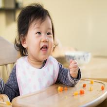 baby eating vegetables