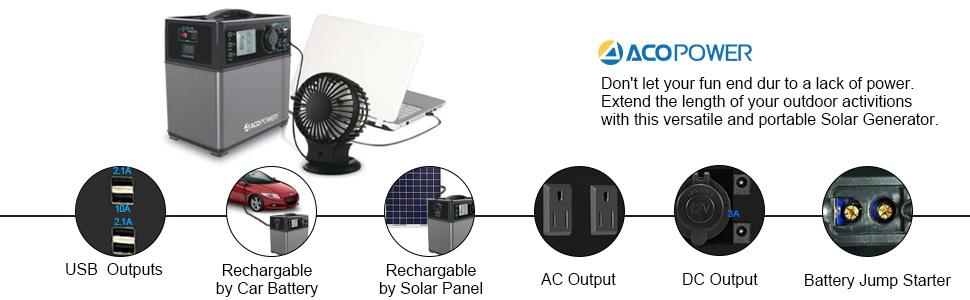 ACOPOWER, 400Wh solar generator,camping