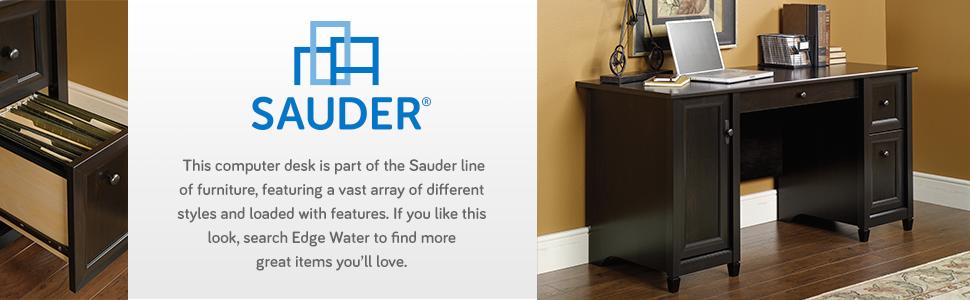 Sauder Edge Water Computer Desk Estate Black Amazon Ca