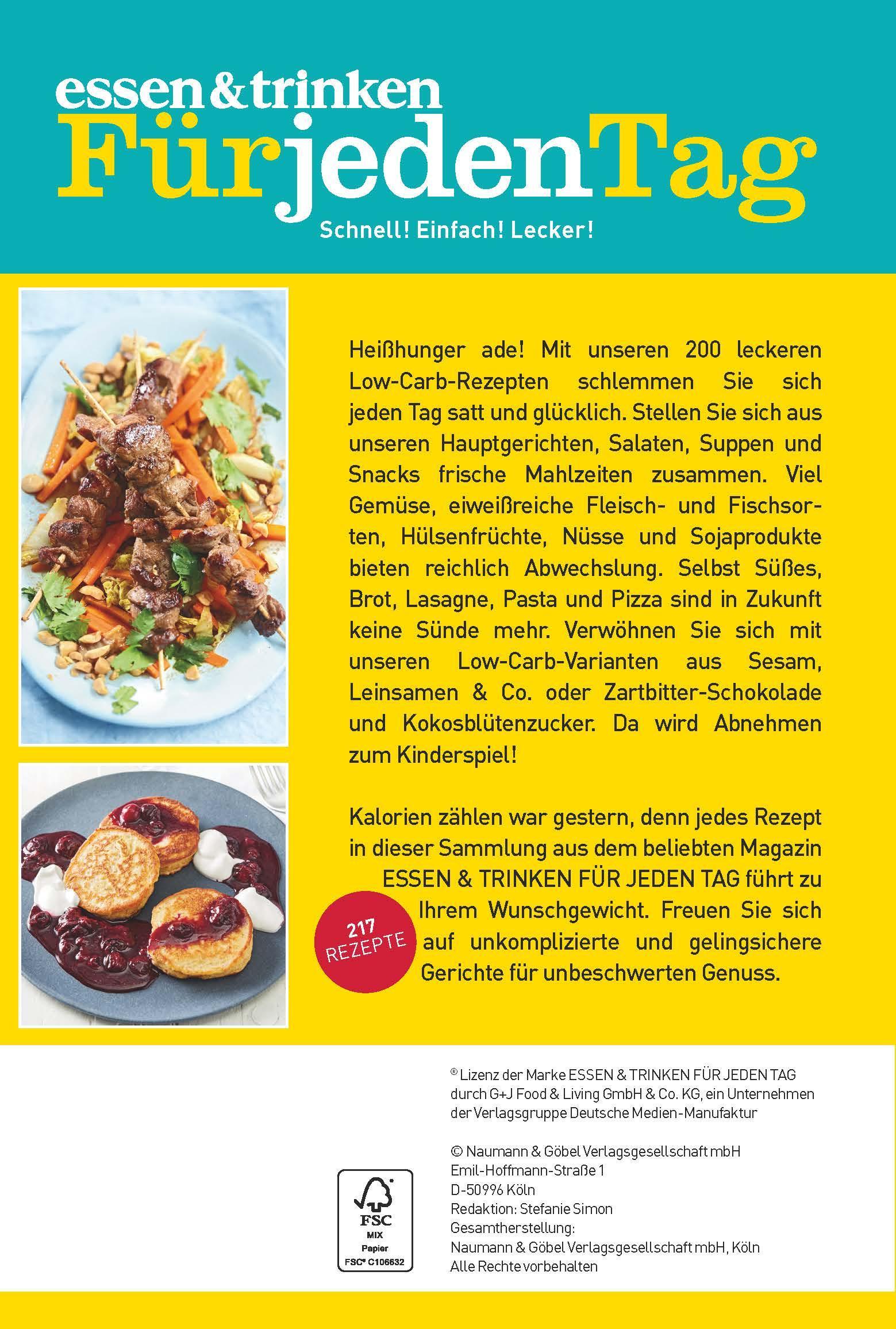 Zeitschrift Essen Und Trinken essen trinken für jeden tag low carb schlank genießen amazon
