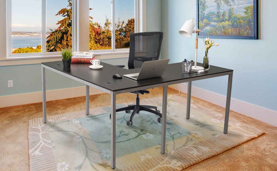 L-Shaped Corner Computer Gaming Desk Modern Workstation Table for Small Space Home Office Black