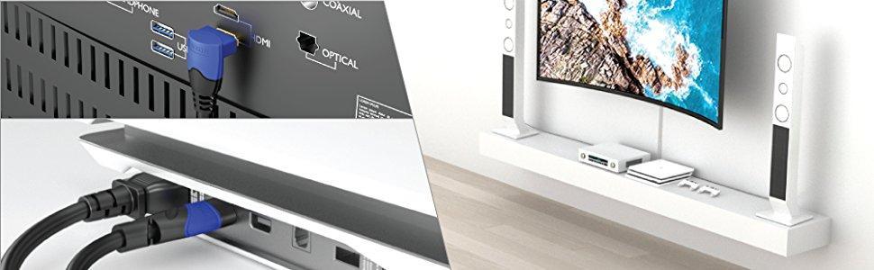 KabelDirekt 2m Cable HDMI 4K 90°, compatible con (HDMI 2.0a/b, 2.0, 1.4a, 4K Ultra HD, 3D, Full HD 1080p, HDR, ARC High Speed con Ethernet, PS4, XBOX, HDTV), TOP Series: Amazon.es: Electrónica