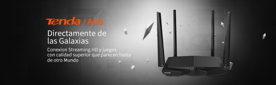 Tenda AC6 Router inalámbrico inteligente de Doble Banda (AC1200, 4 puertos Megabit, WiFi Inteligente)
