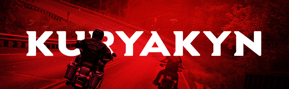 Motorcycle riders on open road. Red overlay with Kuryakyn across banner in white.