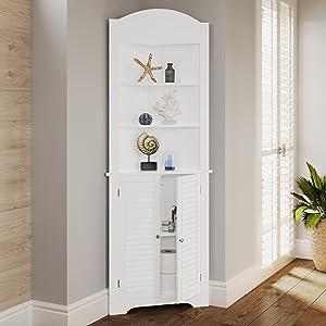 white tall corner storage cabinet