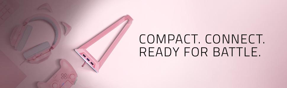 Razer Base Station Chroma Quartz, Headset Stand with USB Hub, RGB Chroma Lightning, pink,rosa