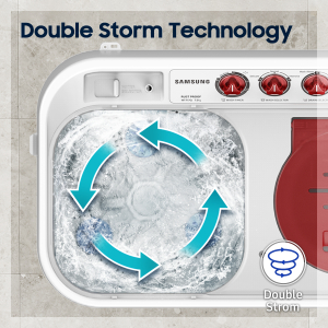 Mechanism of Double Storm technology in washing machine.
