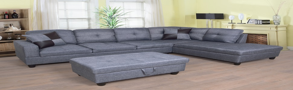Cool Amazon Com Beverly Fine Furniture Sectional Sofa Set Gray Alphanode Cool Chair Designs And Ideas Alphanodeonline