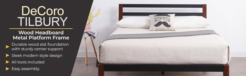 Classic Brands DeCoro Tilbury Wood Slat and Metal Platform Bed Frame with Headboard | Mattress Foundation, Queen