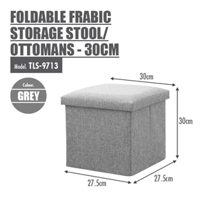FOLDABLE FABRIC STORAGE STOOL/OTTOMANS (GREY)