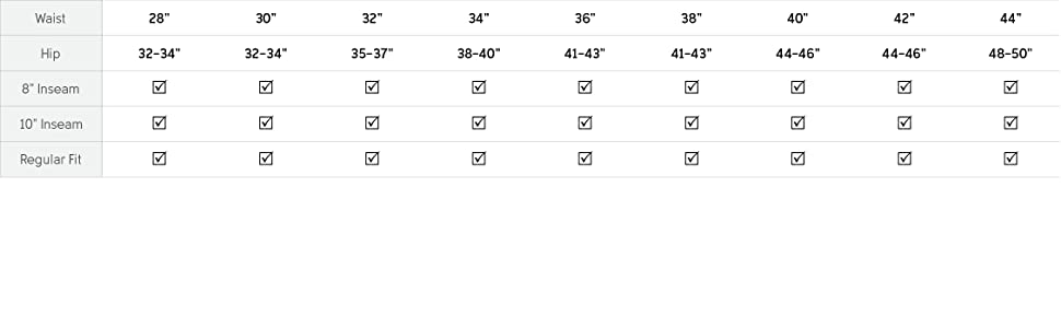 Shorts Size and fit guide