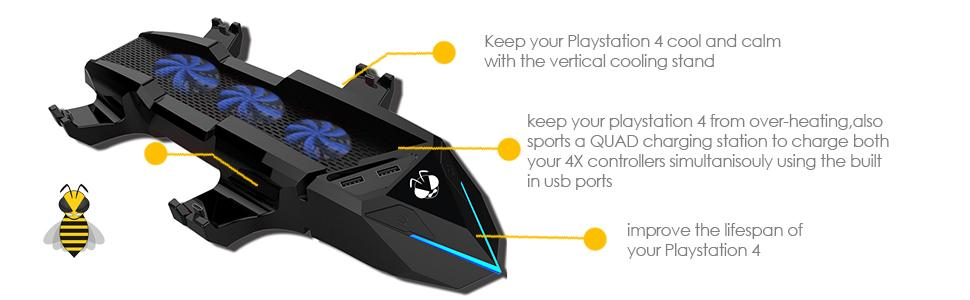 Tree New Bee Sony PlayStation 4 PS4 Console Cooling Fan with 4 Chargers and  2 Extra USB Ports, New Unique Designed ps4 accessories