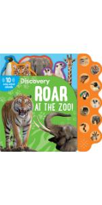 Roar at the Zoo!, Discovery Board Book, 10 Button Sound book, Children's Book