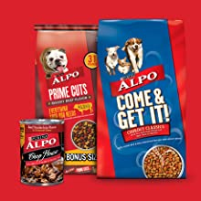 Alpo Come and Get It and Prime Cuts dry dog food bags and Alpo Chop House wet dog food can