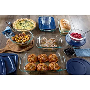 Amazon Com Pyrex Easy Grab 19 Piece Glass Bakeware Set