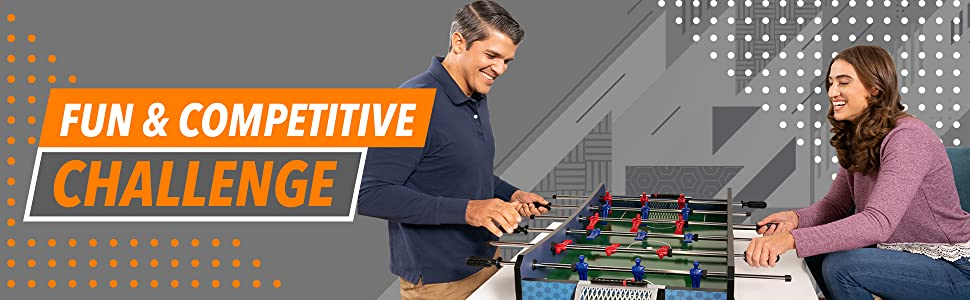 Fun competitive challenge play tabletop foosball table