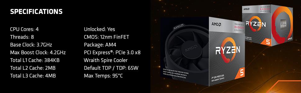 Ryzen 5 3400G Specs