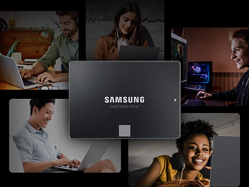 Multiple people working on computers with a Samsung SSD in the middle